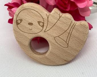 slow SLOTH <87> lazy sleepy mammal friend Wood Shape Baby Teething Toy
