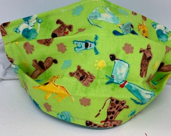 Dog Themed Fabric Face Mask //Puppy Dog Novelty Mask // ReAdY 2 sHiP //  Dog Lover // Green Dog // Dogs //  ~~ At The Dog Park ~~