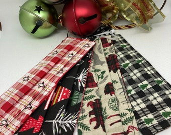 HOLIDAY Christmas Fabric Face Mask // Fabric Face Mask // ReAdY 2 sHiP //  3 Layers / Reversible / Elastic with Cord Stops