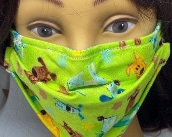 Dog Themed Fabric Face Mask //Puppy Dog Novelty Mask // ReAdY 2 sHiP //  Dog Lover // Green Dog // Dogs //  ~~ At The Dog Park ~~