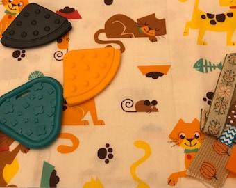 Taggie Blanket Kit // Lovey Tag Blanket // Minky Cuddle Toy // Security Blanket // Easter Basket Gift Idea For Baby Shower // Beige Cat