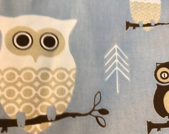 Premier Prints Inc Fabric // Wholesale Box of Fabric // Hooty Owl Blue Duck and Hooty Owl Village Cotton // 6 1/4 yards
