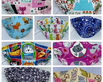 Cat Themed Fabric Face Mask //Kitty Cat Novelty Mask // ReAdY 2 sHiP //  Novelty Mask / Cat Mask