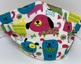 Dog Themed Fabric Face Mask //Puppy Dog Novelty Mask // ReAdY 2 sHiP //  Dog Lover // Green Dog // Dogs //  ~~ Primary Dogs ~~