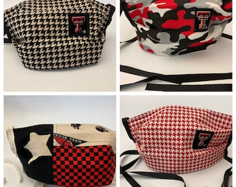 Fabric Face Mask Texas Tech / Fabric Mask Red Raiders TTU Mask / ReD or bLaCk HoUnDsToOtH /CaMoUfLaGe / LoNe StAr fLaG  / Washable Reusable