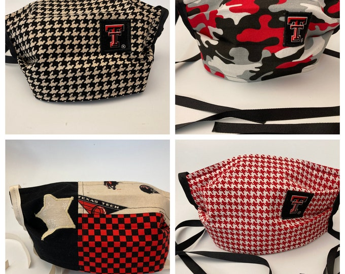 Featured listing image: Fabric Face Mask Texas Tech / Fabric Mask Red Raiders TTU Mask / ReD or bLaCk HoUnDsToOtH /CaMoUfLaGe / LoNe StAr fLaG  / Washable Reusable