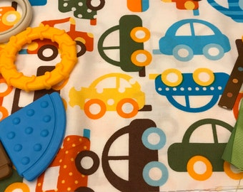 TaGGiE bLaNkEt KiT // Lovey Tag Blanket // Minky Cuddle Toy // Security Blanket // Baby Basket Gift Idea For Baby Shower // Cars