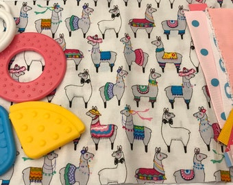 Taggie Blanket Kit // Lovey Tag Blanket // Minky Cuddle Toy // Security Blanket // Easter Basket Gift Idea For Baby Shower // Llamas
