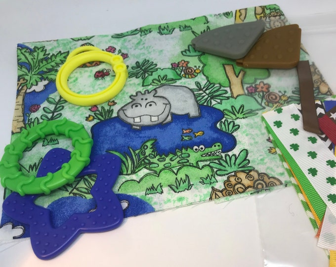 Taggie Blanket Kit // Lovey Tag Blanket // Minky Cuddle Toy // Security Blanket // Handmade // Easter Basket Baby Gift / Jungle