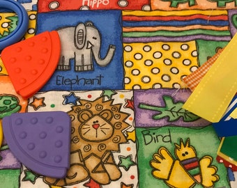 Taggie Blanket Kit // Lovey Tag Blanket // Minky Cuddle Toy // Security Blanket // Easter Basket Gift Idea For Baby Shower // Jungle Squares