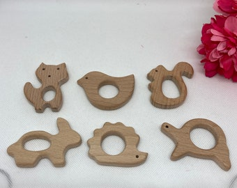 MEADOW Forest Beech Wood Shape Sampler // Wooden Shapes // TuRtLe FoX BiRd HeDgEhOg SqUiRReL BuNNy