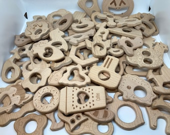 Beech Wood Shapes // Natural Wood Eco Friendly Teething Toys // Over 80 Shapes In Stock