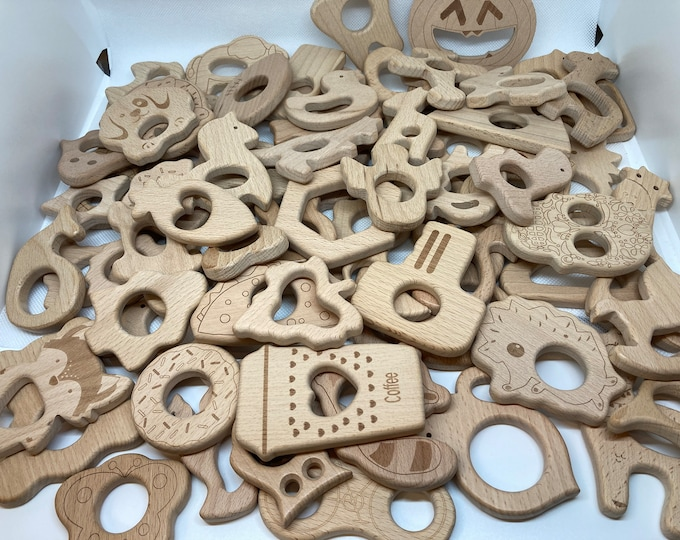 Featured listing image: Beech Wood Shapes // Natural Wood Eco Friendly Teething Toys // Over 80 Shapes In Stock
