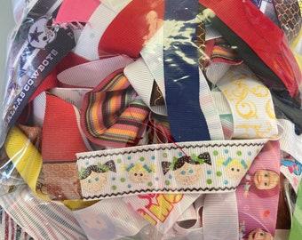MULTI COLOR GROSGRAIN Ribbon Lot for Crafts Toys Hobbies Sewing // Big Bag of Ribbon Multi Colors Solid Colors
