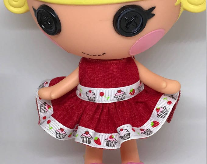 Handmade Dress for Lalaloopsy Little Doll // Little Sister // Doll Clothes  // Under 10 // For Girls // Red Cupcake