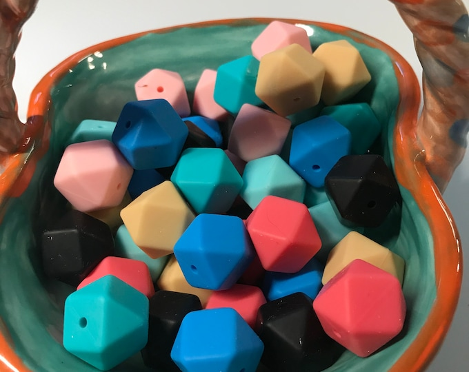 17 mm HEX Silicone Teething Beads // Hexagon Teething Beads // Sensory Beads // BPA Free Food Grade Silicone // You Choose Color & Quantity