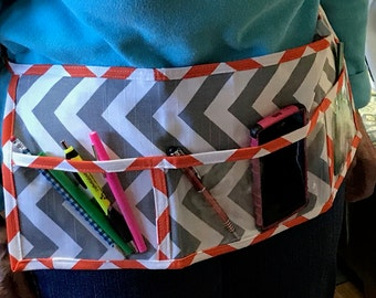 Utility Apron // GrEy & OrAnGe ChEvRoN // Teacher Apron // Clear Pocket Apron // Craft Apron //Teacher Gift // Gift Idea // Under 20