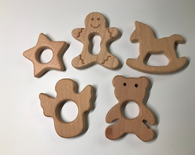 Beech Wood Shape Sampler // Holiday Shapes // Wooden Shapes  // Wood Animal Shapes // Star Gingerbread Rocking Horse Angel Teddy Bear