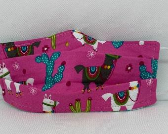 Sale no drama LLAMA Fabric Face Mask // Llama lovers Mask // ReAdY 2 sHiP //  Pink Turquoise Novelty Llama Mask