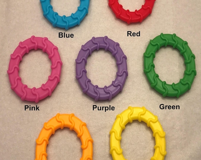 Silicone WAVY Single  // Baby Ring // Baby Teething Ring // Sew In Teether // Round Baby Teether // Handmade Toy Parts