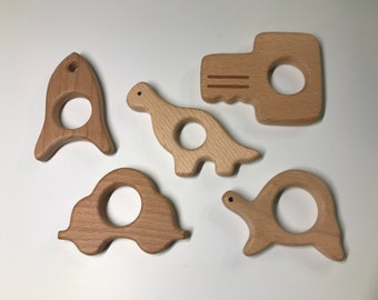 Beech Wood Shape Sampler // Boy Faves // Wooden Shapes // Teething // Animal Shapes // wood RoCkEt wood DiNoSaUr wood CaR wood KeY TuRtLe
