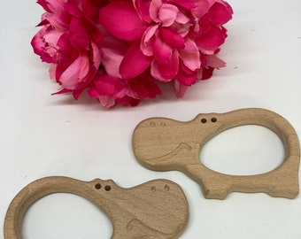 HIPPO hippopotamus Wood Shape / Wood Animal Shapes / Wooden Teether // Wooden Animal Toys // Wood Baby Shapes // Eco Friendly