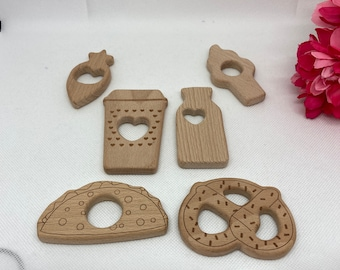 FOOD Beech Wood Shape Sampler // Wooden Shapes // CoFFee CuP TaCo PrEtZeL IcE CrEAm CoNe CuPcAkE CaRRoT