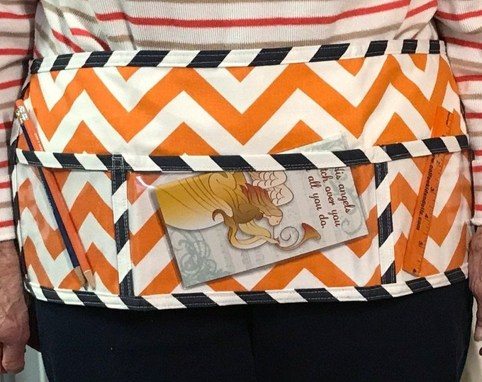 Utility Apron // OrAnGe and NaVy ChEvRoN // Teacher Apron // Clear Pocket Apron // Craft Apron //Teacher Gift // Gift Idea // Under 20