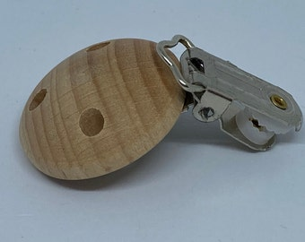 Round Beech Wood Pacifier Clip // Unfinished Natural Wood Pacifier Clip // Heavy Duty Metal Clip // Paci Clip // Toy Clip