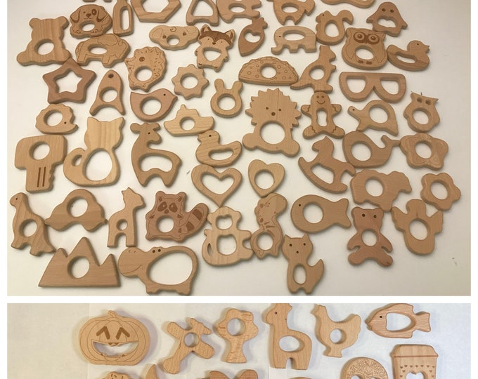 Featured listing image: Wooden Shapes // Beech Wood // Wood Animal Shapes // Wooden Teether // Wooden Animal Toys // Wood Baby Shapes // Eco Friendly / Baby Teether
