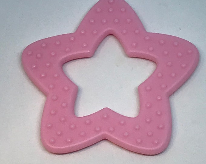 Light Pink Silicone STAR Rings // Silicone Baby Toys // Silicone Toys // Star Shaped Toy // Sensory Baby Teething Ring // Wholesale Lot