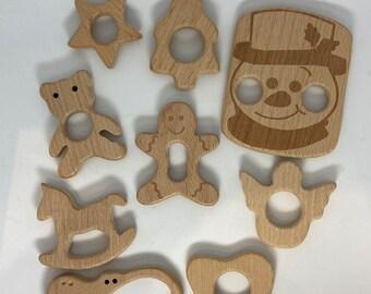 HOLIDAY Beech Wood Shape Sampler // Wooden Shapes  // Wood Animal Shapes / Star Gingerbread Rocking Horse Angel Teddy Bear Snowman