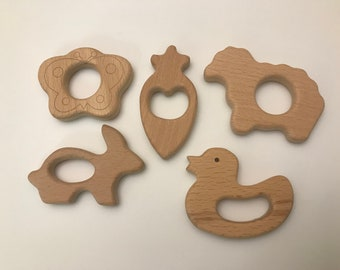 Beech Wood Shape Sampler // EaStEr SpRiNg // Wooden Shapes // Wood Animal Shapes //Teething Toy // sHeeP bUttERfLy dUcK cArrOt bUnnY