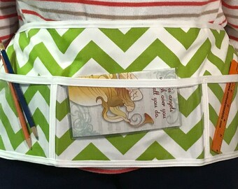 Utility Apron // GrEeN ChEvRoN 2 // Teacher Apron // Clear Pocket Apron // Craft Apron //Teacher Gift // Gift Idea // Under 20