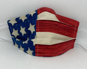 American Flag Face Mask // Americana Mask // Face Mask // Red White Blue // Patriotic // 3 Layers with ties // Washable Reusable