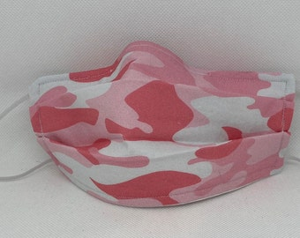 Sale Pink Camouflage Fabric Face Mask // Fight Like A Girl Mask // ReAdY 2 sHiP //  Pink and White Camo