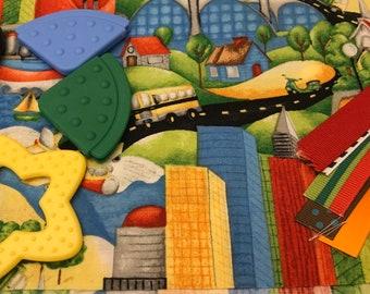 Taggie Blanket Kit // Lovey Tag Blanket // Minky Cuddle Toy // Security Blanket // Easter Basket Gift Idea For Baby Shower // Transportation