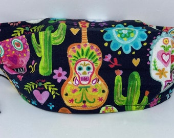 Fabric Face Mask SuGaR sKuLL // Day of the Dead // Bright and Colorful Sugar Skulls // Your Choice of Elastic or Ribbon Ties