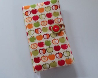 Fabric Covered Pocket Calendar // Refillable 2020 Planner Organizer For Her // Under 10 Handmade Gift Idea for Purse Desk / Apples Green Red