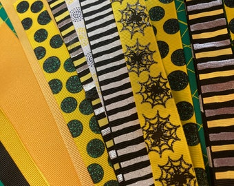 YELLOW & BLACK GROSGRAIN Ribbon Lot for Crafts Toys Hair Bow Hobbies Sewing // sizes 5/8 7/8 1 1 1/2 2 inch wide