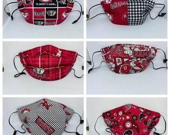 Fabric Face Mask Alabama / Fabric Mask Crimson Tide UA Mask / pRePPy pLaId / PoLkA DoT / Paisley / gRaFFiTi / bLoCk / HoUnDsTooTh