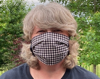 HOUNDSTOOTH Face Mask //  Classic Black Fabric Face Mask // Reversible Washable Reusable // 3 Layers with Ties