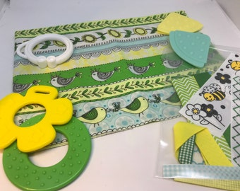 Taggie Blanket Kit // Lovey Tag Blanket // Minky Cuddle Toy // Security Blanket // Handmade // Easter  Baby Gift / Bird Line