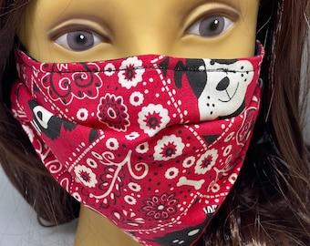 Dog Themed Fabric Face Mask //Puppy Dog Novelty Mask // ReAdY 2 sHiP //  Dog Lover // Green Dog // Dogs //  ~~ Bandana Dog ~~