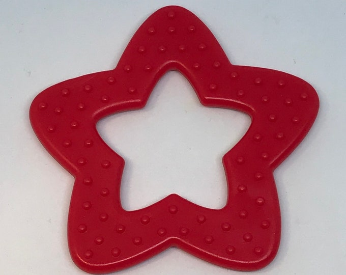 Red Silicone STAR Rings // Silicone Baby Toys // Silicone Toys // Star Shaped Toy // Sensory Toy // Baby Teething Ring // Wholesale Lot
