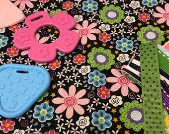 Taggie Blanket Kit // Lovey Tag Blanket // Minky Cuddle Toy // Security Blanket // Easter Basket Gift Idea For Baby Shower // Black Flowers