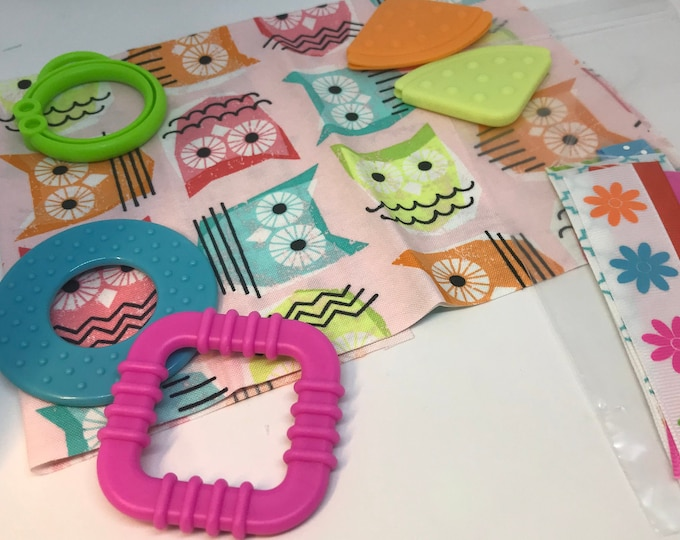 Taggie Blanket Kit // Lovey Tag Blanket // Minky Cuddle Toy // Security Blanket // Handmade // Christmas Baby Gift / Pink Owl