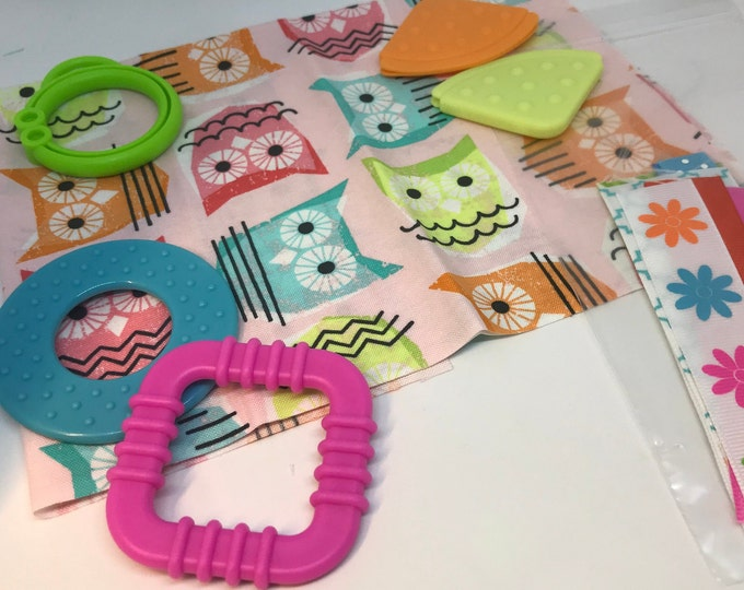 Taggie Blanket Kit // Lovey Tag Blanket // Minky Cuddle Toy // Security Blanket // Handmade // Easter Baby Gift / Pink Owl