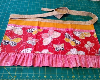 Long Girly Utility Apron // Pink Butterfiles // Teacher Apron // Craft Apron //Teacher Gift // Gift Idea // Under 35