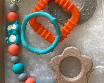 Pacifier Clip and Toy Gift Set / Baby Teething /  / Paci Clip / Silicone Beads PLUS You Choose a Beech Wood Shape